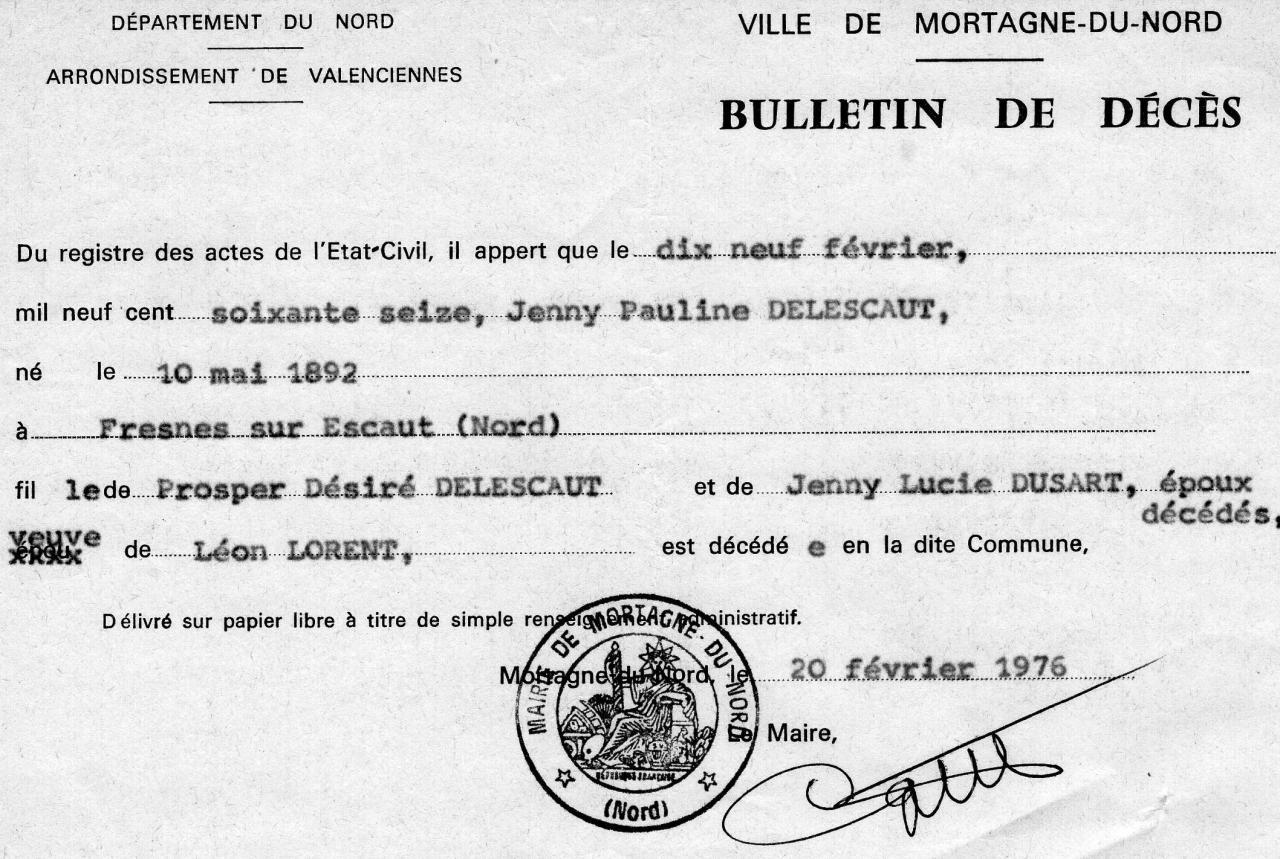 Acte de d c s de delescaut jenny pauline - Acte de propriete belgique ...